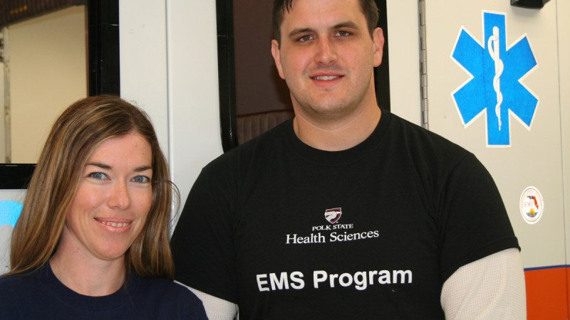 Polk State EMS students Lisa Barnes and Derek McBrayer helped revive a patient at Lakeland Regional Medical Center.