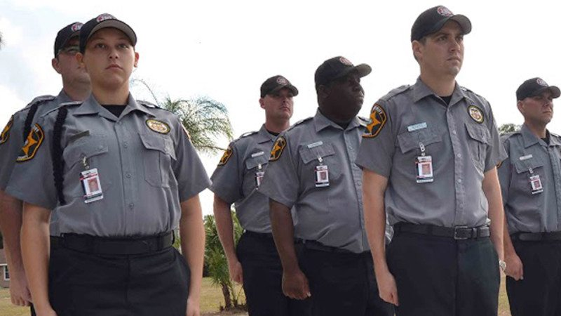 Polk State's Kenneth C. Thompson Institute of Public Safety has earned CALEA's Accreditation with Excellence Award. Here, a group of current cadets line up for a daily uniform inspection before class.