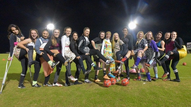 Members of the Polk State soccer team started their season with a Spring Fling just after midnight on Feb. 1, the day the NJCAA permits practices to begin.