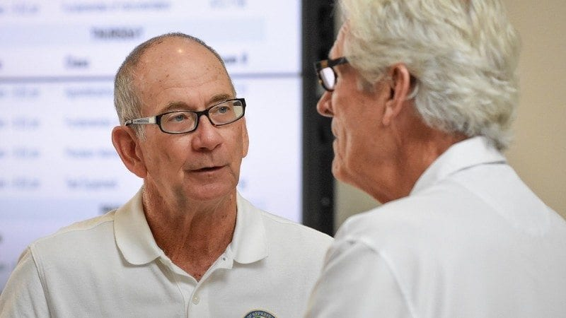 Rep. John Wood speaks with Rob Clancey, director of the Polk State Corporate College, during Wednesday's tour of the Polk State Clear Springs Advanced Technology Center.