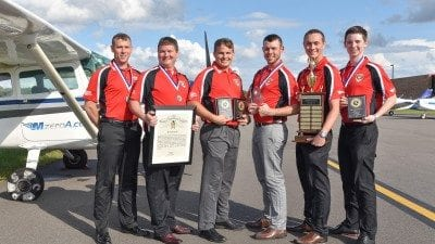 Polk State's Flight Team, Talon 6, brought home numerous awards from the National Intercollegiate Flying Association Region 9 SAFECON competition. From left, Michael Brandt, Matthew Pickett, Trae LeFan, Aaron Poidevin, Justin Wayman, and Dillon Kraushaar.