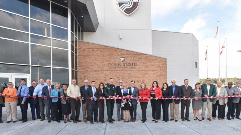 Polk State President Eileen Holden, as well as past and present members of Polk County's legislative delegation and numerous other local leaders, gathered on Friday, Jan. 8, to cut the ribbon at the Polk State Center for Public Safety.