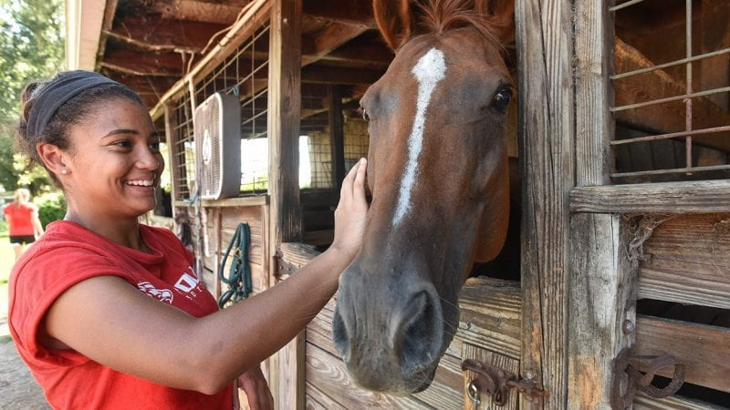 Polk State soccer player Dyaniz Serrano and her teammates are volunteering for Grune Heidi Farm