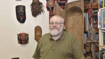 Professor Logan Randolph, whose office at Polk State Winter Haven, WSC 132, is filled with items he's collected during his many trips abroad, teaches in the College's Global Studies Program.