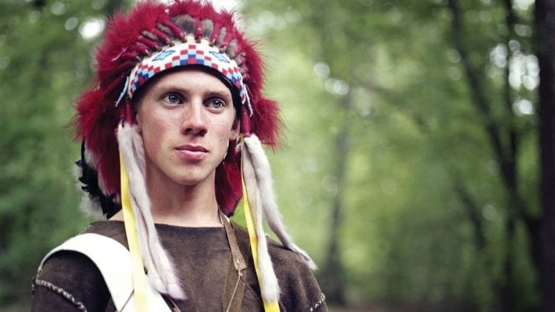 """Boy Scouts and Indians"" features the photography of Rod Fincannon, who found inspiration for his exhibit in the Boy Scouts' honor society, the Order of the Arrow. Members of the Order of the Arrow dress in Native American clothing and perform Native American dances and songs."
