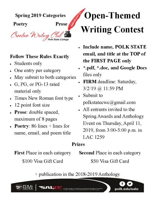 Creative Writing Club Open-Themed Writing Contest (Deadline March 2