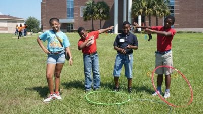 Students from Sandhill Elementary recently visited Polk State Lakeland as part of the Student Activities and Leadership Office's Kids on Campus program.