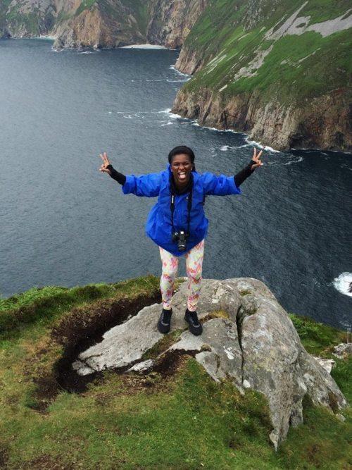 Polk State student Michelle Eady on the cliffs on Sliabh Liag.