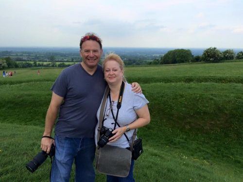 Polk State student Susan Fallows and her husband, Rob Raff, stand at the Hill of Tara.
