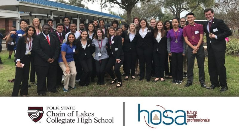 Polk State Chain of Lakes Collegiate High School HOSA students