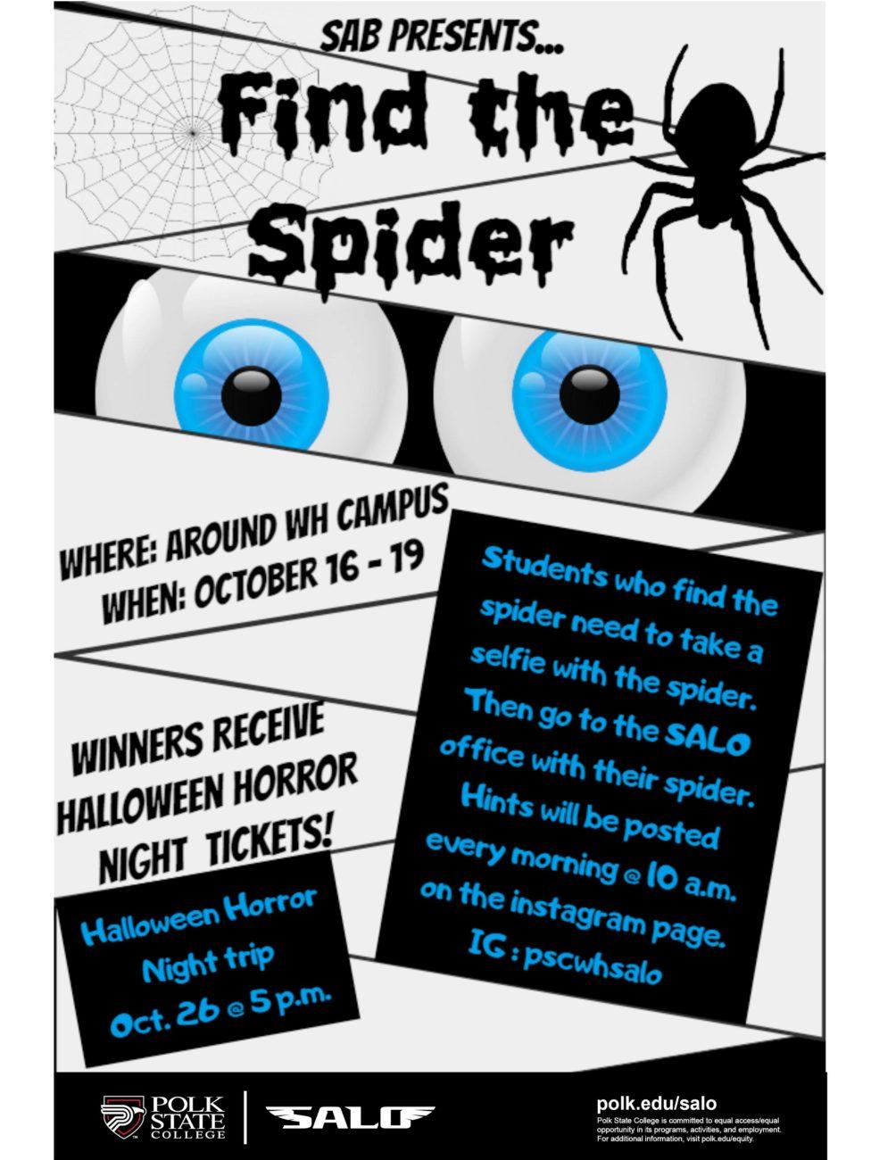 Polk State College SALO Halloween Horror Week: Find the Spider ...