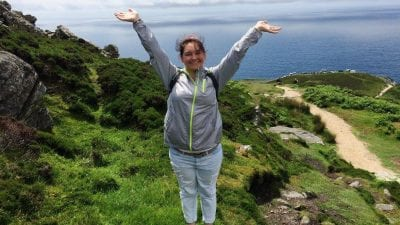Polk State student Rebekah Hall stands on the cliffs of Sliabh Liag during a recent study-abroad trip to Ireland.