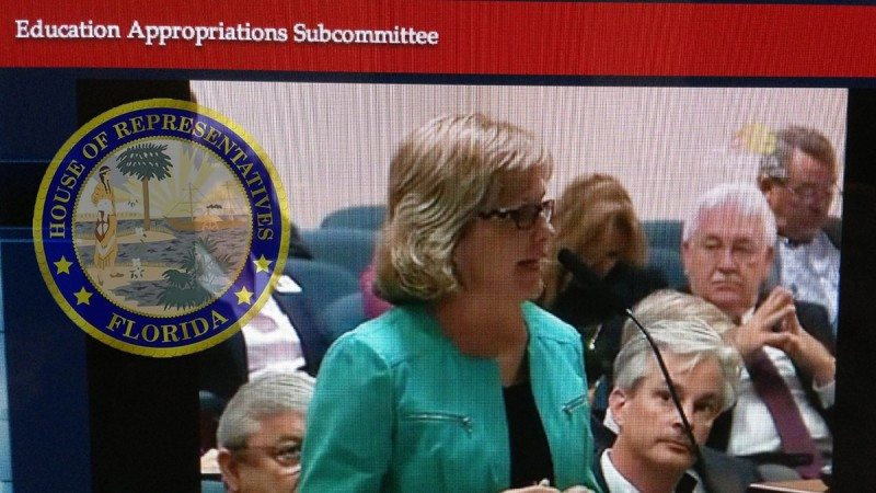 President Eileen Holden addresses the Education Appropriations Subcommittee of the Florida House of Representatives