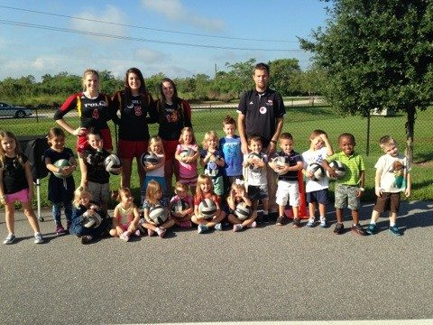 Polk State volleyball players and coaches recently visited South McKeel Academy during Career Week.