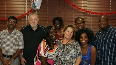 The Polk State JD Alexander Center celebrated its tutors on Thursday as part of National Tutor Appreciation week. Back row from left, tutors Nilesh Patel and Don Nanny, Academic Services Specialist Kathy Jessie, Polk State JD Alexander Center Director Cheryl Garnett, and tutor Willie Watson III. Front row from left, tutors Rhobbyn Fairweather, Juliana Smith, and
