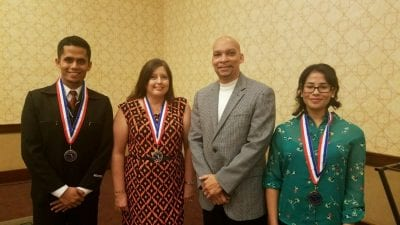 Four Polk State College students were honored at Thursday's Florida College System All-Florida Academic Team Awards. From left, Nazmul Nayeem, Angela Duffield, Vice President for Student Services Reggie Webb, and Jaysha Camacho. Not pictured is Victoria Goucher.