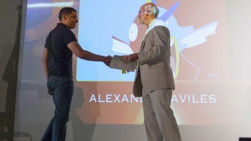 Alex Aviles receives award from Professor Joyce.