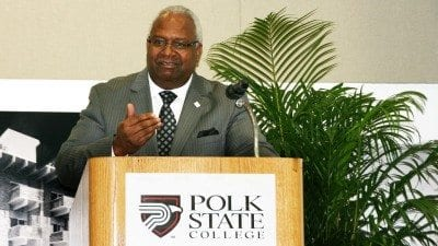 Anthony James, a Polk State Distinguished Alumnus who held high-level positions with an Atlanta-based utility company, was the speaker at Polk State's Dr. Martin Luther King Jr. Celebration Luncheon on Wednesday.