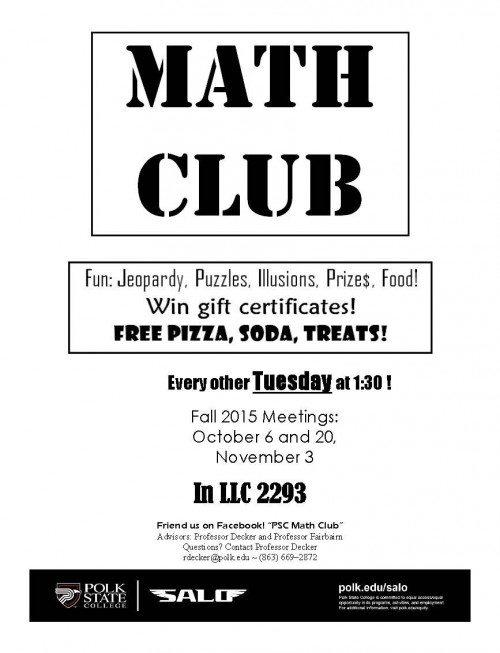 Math Club Flyer Fall 2015