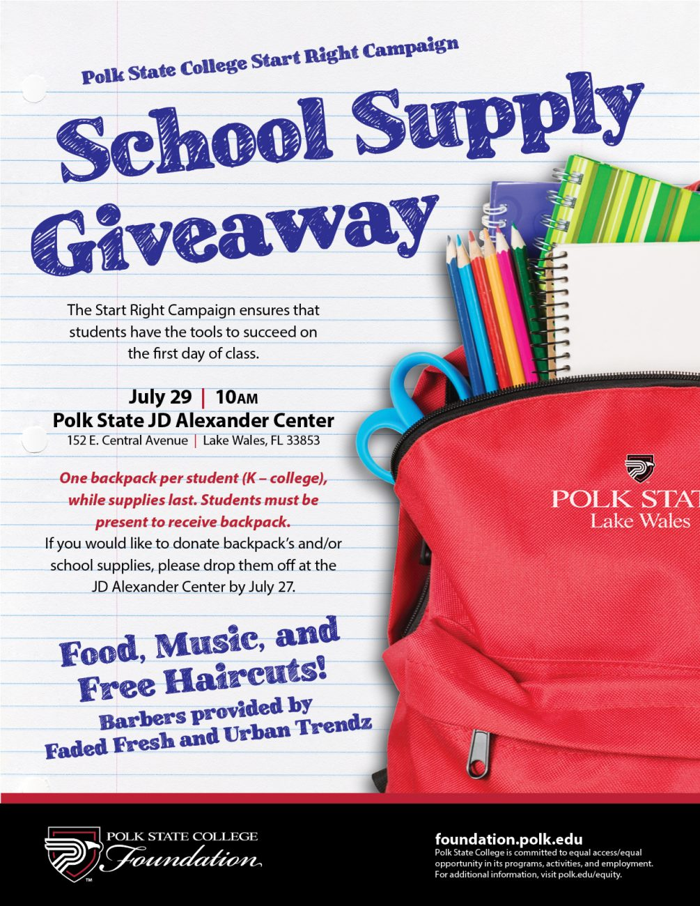 polk state college school supply giveaway