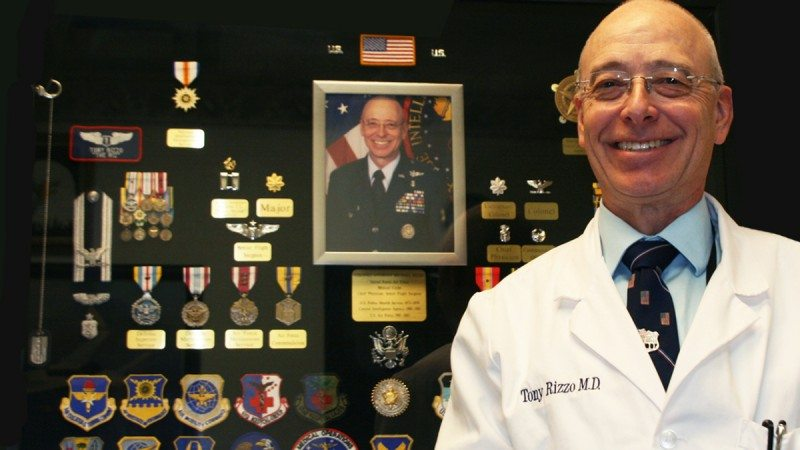 Dr. Anthony Rizzo is a retired Air Force colonel who received numerous honors for his contributions to medical intelligence. A shadow box containing many of his awards is on display in his office at Polk State Winter Haven.