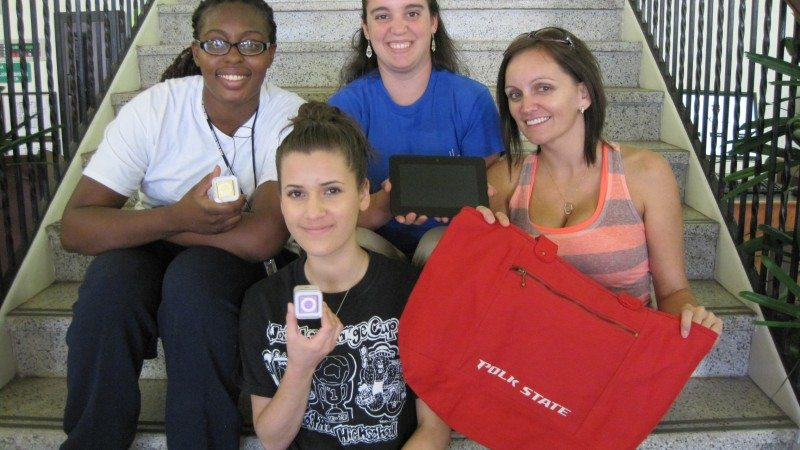Winners of Polk State Lake Wales' scavenger hunt included, from left, Nikela Sullivan, Abigail Granados, Caroline Ullman, and Victoria Granados. Not pictured is Richard Campagna.