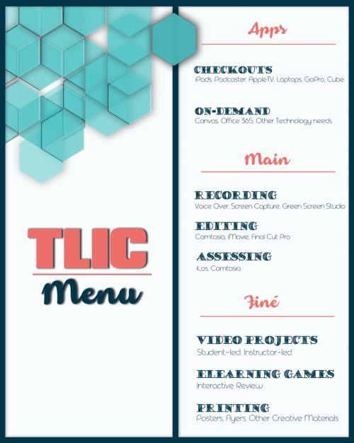 A picture of a menu with a list of services offered in the TLIC including checkouts, on-demand training, recording, editing, assessing, video projects, elearning games, and printing.