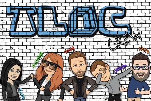 A picture of the TLIC staff as Bitmoji characters.  The staff names are Katie, Carleigh, Cody, Justin, and Chris.