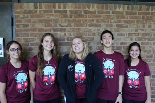 Twin Day turned into Quintuplet Day for (left to right) juniors Kari Snow, Kaitlyn Kelley, Avery Fox, Harrison Chen, and Veronica Aviles.