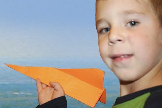Hayden Morris, 5, was one of several children who recently participated in a paper airplane contest led by Polk State Aerospace Program Director Eric Crump.