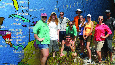 Polk State recently sent its first students on a science field experience to the Bahamian island Andros. From left, students Mary Bibler, Brett Linamen, Joshua Campbell, Beth Ackerly, Jessi Shell, Biology Professor Anthony Cornett, students Amanda Arbuthnot, Michelle Shaffer, Kristiana Heath, and Lyndon, who works at Forfar, the field station where trip participants were based.
