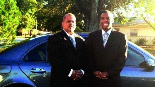 Stephen Baker (R) with his dad, Derrick.