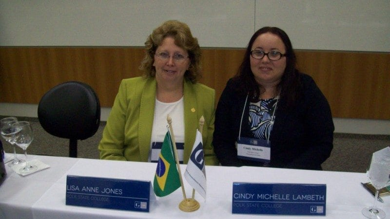 Polk State students Lisa Jones and Cindy Lambeth presented six months' worth of research on business opportunities in Polk County to the G100, an organization of Brazilian CEOs