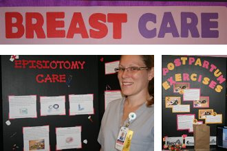 Polk State Nursing students, including Jennifer Muller, left, recently displayed more than 60 presentation boards that contained information for new mothers, from breastfeeding positions to swaddling newborns. The boards were part of an assignment to educate new mothers in a clinical setting.