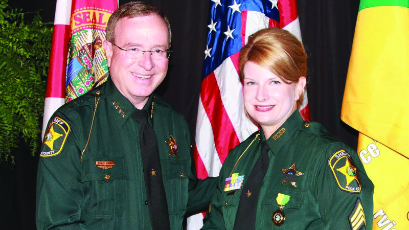 Sgt. Christen Shea has received the Meritorious Service Medal from Polk County Sheriff Grady Judd for her work in growing Polk State's Criminal Justice offerings.