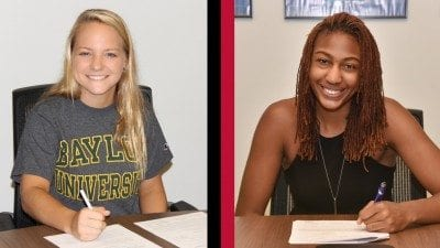 Polk State Chain of Lakes Collegiate High School students Mary Berdis, left, and Maddison Wells recently signed letters of intent with Baylor University and Tulane University respectively.