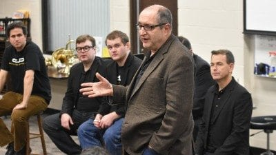 Dallas Brass Michael Levine speaks with Polk State Music students during the ensemble's masterclass on Tuesday.