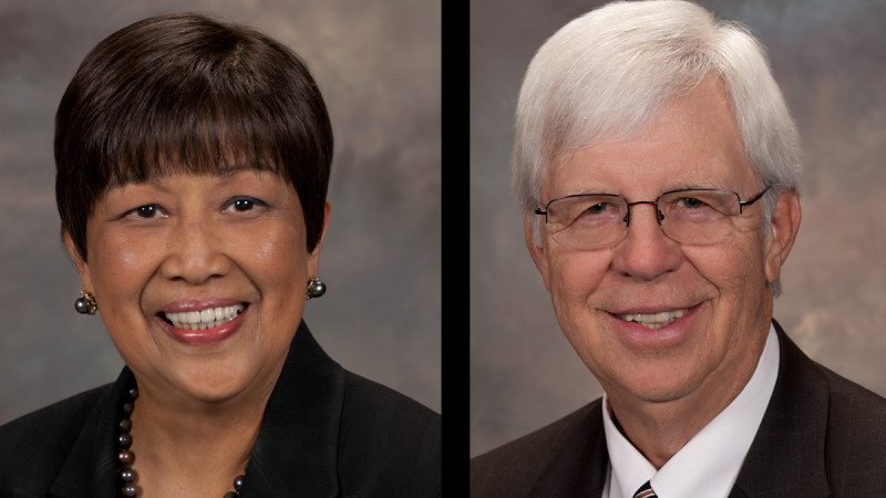 Polk State District Board of Trustees Chair Linda Pilkington (L) and Vice Chair Dan Dorrell