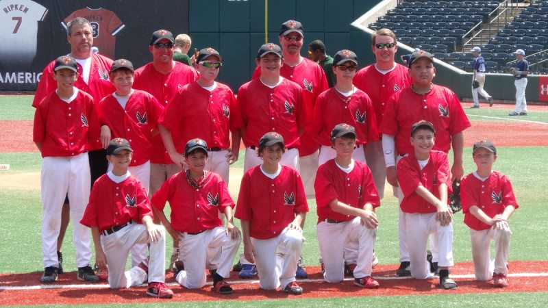The South Lakeland War Eagles competed in the Cal Ripken Experience. Bottom row from left, Ethan Higgins, Christopher Gill, Dakota Peters, Tommy Esterline, Shawn Griffin and Wesley Day; middle row from left, Christopher Cabrera, Jake Weathers, Zach French, Ben Jenkins, William Shepp and Rafael Martinez; back row from left, coaches Dan Esterline, Bryan French, Mike Weathers and Dave Shepp.