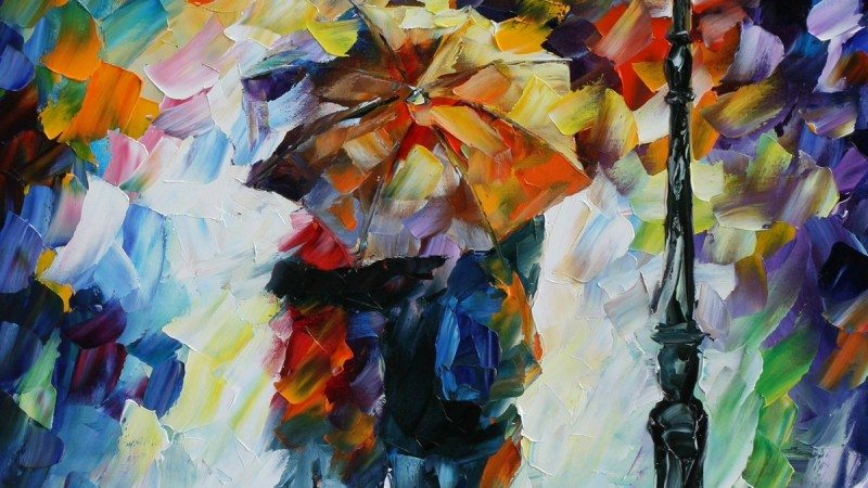 "Polk State Theatre performed ""The Fantasticks"" in Nov. 2013. Artwork by painter Leonid Afremov was used to illustrate the season's plays, including this work, titled ""Under One Umbrella"" for ""The Fantasticks."""