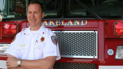 Shane Reynolds is rescue chief at the Lakeland Fire Department. He holds two associate's degrees from Polk, and is working on his Bachelor of Applied Science in Supervision and Management.