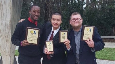 Members of Polk State's Speech and Debate Team recently competed at the FCSAA State Championship. From left, Jawan McClinton, Jinming Chen and Toby Pelland.