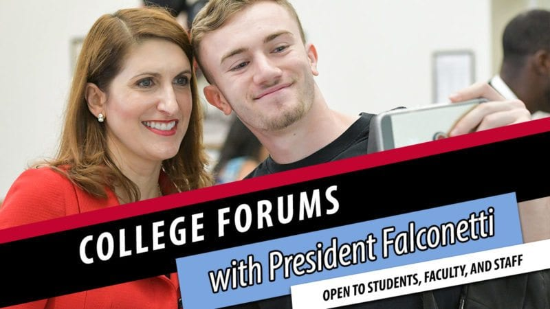 President Falconetti with student