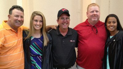 From left, Curtis Threlkeld, Brooke Threlkeld, Polk State Head Softball Coach Jeff Ellis, friend Mike Littles and Amber Reveron.