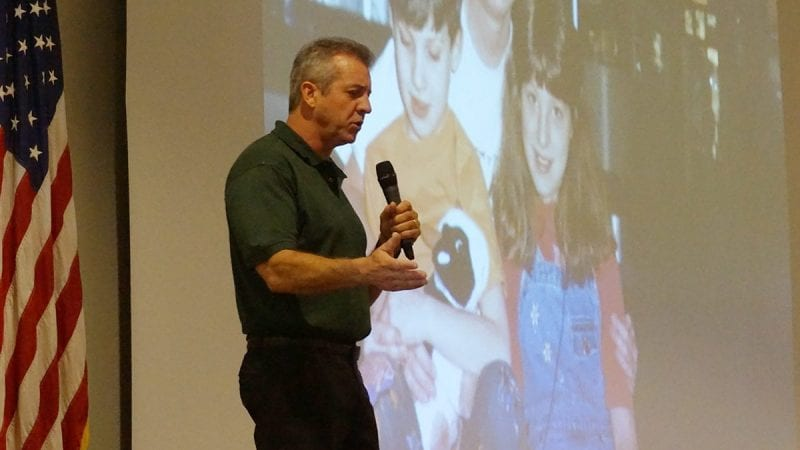 John Halligan, whose son, Ryan, committed suicide after being bullied for several years, spoke to Polk State Lakeland Collegiate High School and Polk State Lakeland Gateway to College students on Friday.