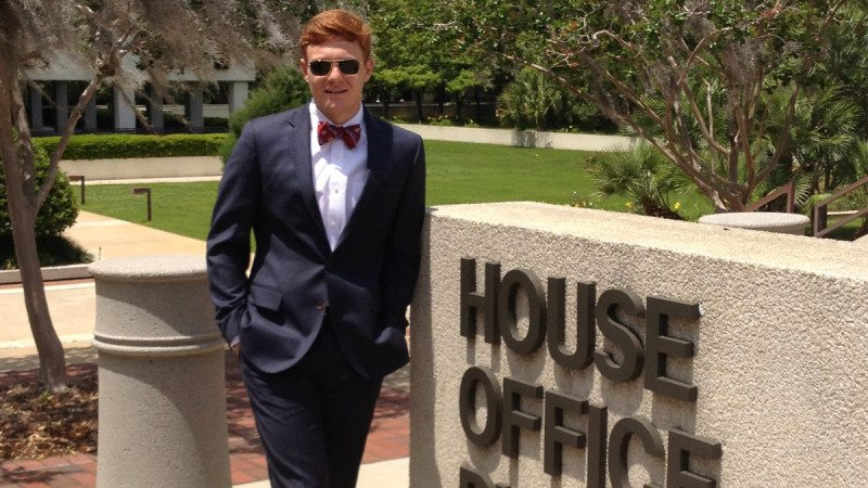 Polk State graduate Alexander Price is interning in Rep. John Wood's office this semester.