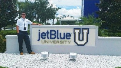 Polk State Aerospace student Phillip Herrington has been studying at JetBlue University this summer. He is one of only 27 students selected from more than 2,000 applicants for the airline's internship program.