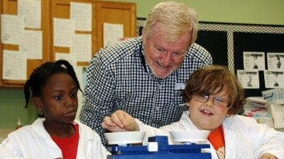 Polk State Professor Cliff Bennett recently volunteered at Hillcrest Elementary in Lake Wales, where he taught second-graders about properties of matter.