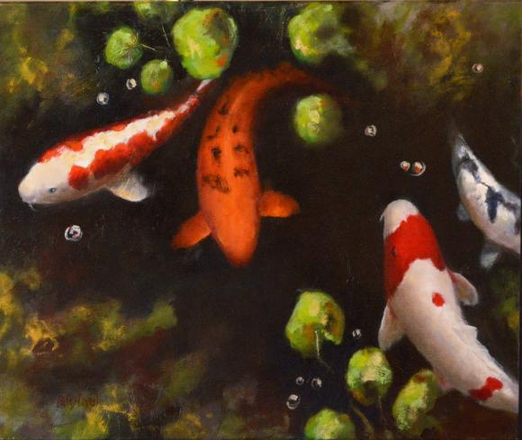 """The Keeper's Koi"" by Patty Lovell. Lovell's work will be displayed along with that of Ilene Phelan and Kim Ross at the Polk State Winter Haven Fine Arts Gallery through Dec. 7."