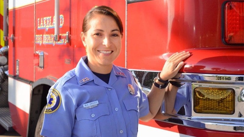 Margaret Orozco, a Polk State alumna and firefighter/paramedic with the Lakeland Fire Department.